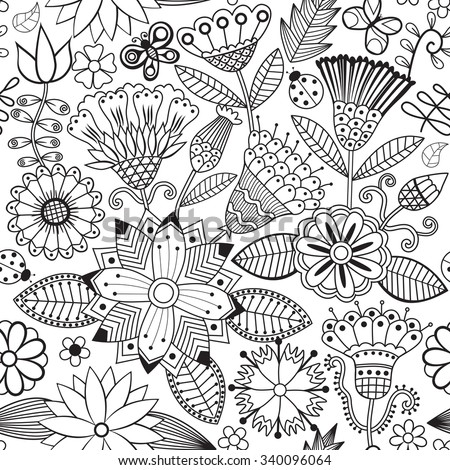 Vector flower pattern. Black and white seamless botanic texture, detailed flowers illustrations. All elements are not cropped and hidden under mask. Doodle style, spring floral background - stock vector