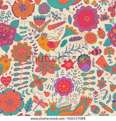 Vector flower pattern. Colorful seamless botanic texture, detailed flowers illustrations. All elements are not cropped and hidden under mask. Doodle style, spring floral background. - stock vector
