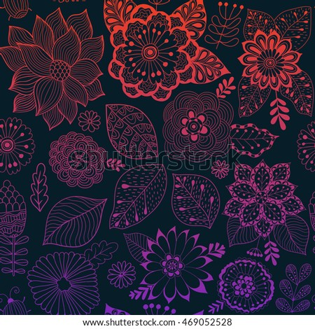 Vector flower pattern. Colorful seamless botanic texture, detailed flowers illustrations. All elements are not cropped and hidden under mask. Doodle style, spring floral background