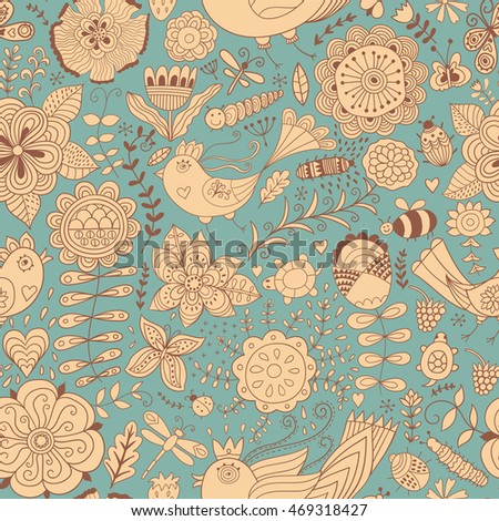 Vector flower pattern. Colorful seamless botanic texture, detailed flowers illustrations. All elements are not cropped and hidden under mask. Doodle style, spring floral background.