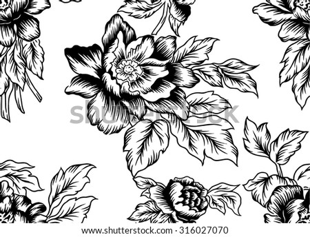Vector flower.Pattern design lines of bouquet.
