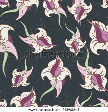 Vector flower seamless pattern background. Elegant texture for backgrounds. - stock vector