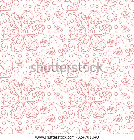 Vector flower seamless pattern. Cute floral background with swirls, dots/ - stock vector
