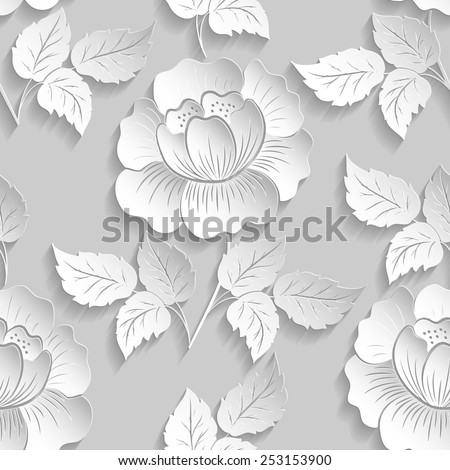 Vector flower seamless pattern element. Elegant texture for backgrounds. 3D elements with shadows and highlights. Paper cut.