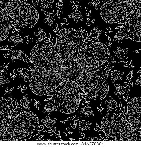 Vector flower seamless pattern. Simple floral background with beautiful outlined flowers. Cute wedding print with swirls and leafs. Vintage sweet and cute art. Monochrome cartoon wallpaper. - stock vector