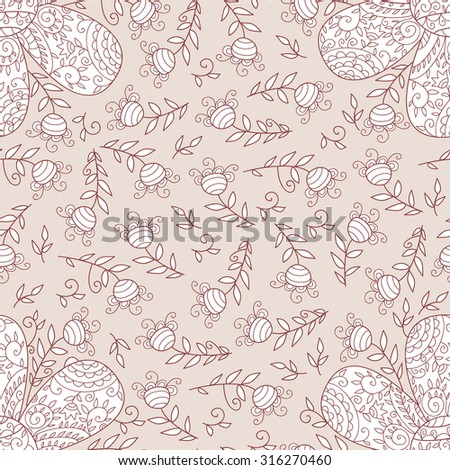 Vector flower seamless pattern. Simple floral background with beautiful outlined flowers. Cute wedding print with swirls and leafs. Vintage sweet and cute art. Colorful cartoon wallpaper. - stock vector