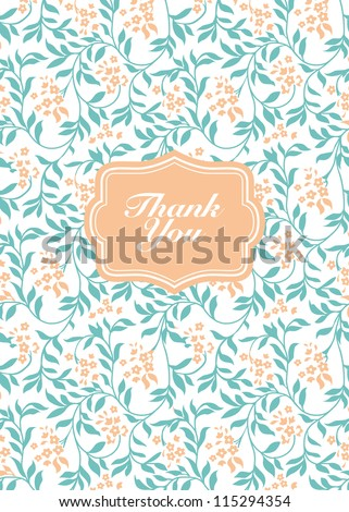 Vector Flower Thank You Frame. Easy to edit. Perfect for invitations or announcements. - stock vector