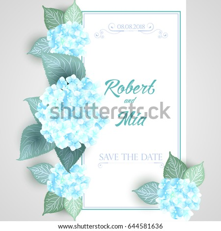 vector flower wedding invitation card blue ベクター画像素材