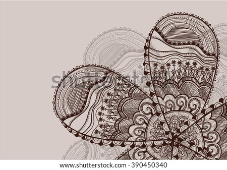 vector flower with indian pattern - stock vector