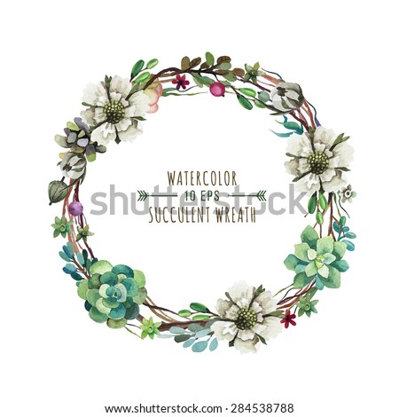 Vector flower wreath in a watercolor style. Vintage floral wreath. Decorative floral element for design of invitations, covers, notebooks and other items.  - stock vector