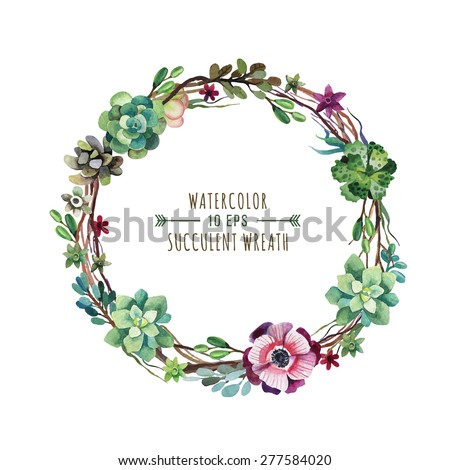 Vector flower wreath of succulents in a watercolor style. Vintage floral wreath. Decorative floral element for design of invitations, covers, notebooks and other items. Floral wreath ?2 - stock vector