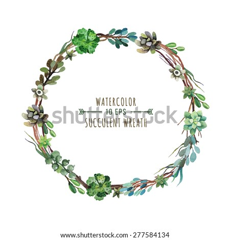 Vector flower wreath of succulents in a watercolor style. Vintage floral wreath. Decorative floral element for design of invitations, covers, notebooks and other items. Floral wreath ?3 - stock vector
