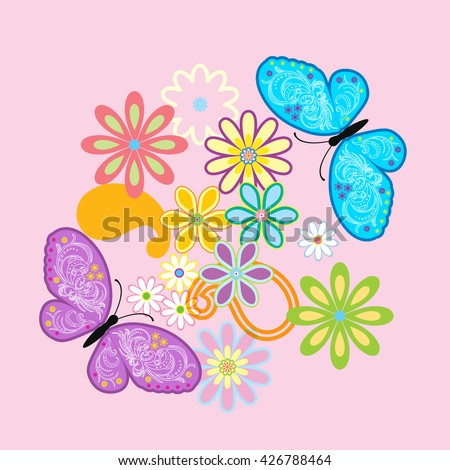 Vector flowers and butterfly background / Beauty butterfly  - stock vector
