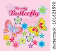 Vector flowers background / beauty butterfly - stock vector