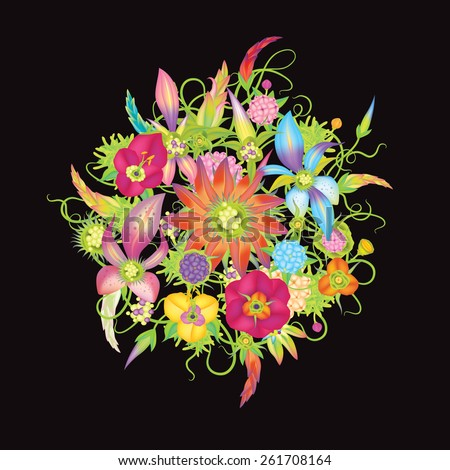 Vector flowers black background eps10 - stock vector