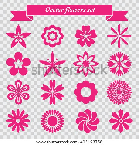 vector flowers icons set - stock vector