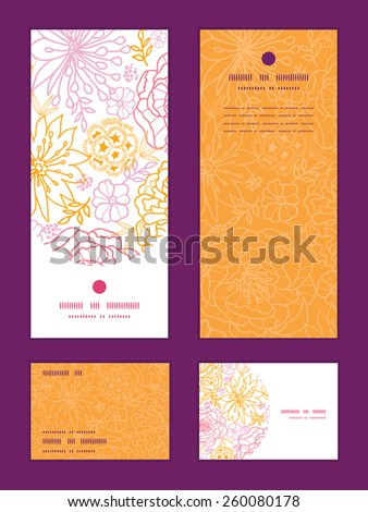Vector flowers outlined vertical frame pattern invitation greeting, RSVP and thank you cards set - stock vector