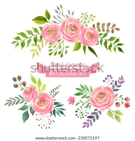 Stock images royalty free images vectors shutterstock vector flowers set colorful floral collection with leaves and flowers drawing watercolor spring stopboris Image collections