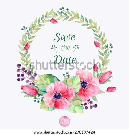 Vector flowers set. Colorful floral collection with leaves and flowers, drawing watercolor. Spring or summer design for invitation, wedding or greeting cards. Floral wreath for your own combinations - stock vector