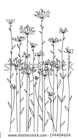 Vector flowers silhouettes. - stock vector