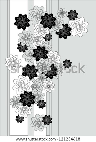 Vector flowers vintage card. Black and white background.