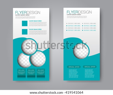 Vector flyer and leaflet design. Set of two side brochure templates.  - stock vector