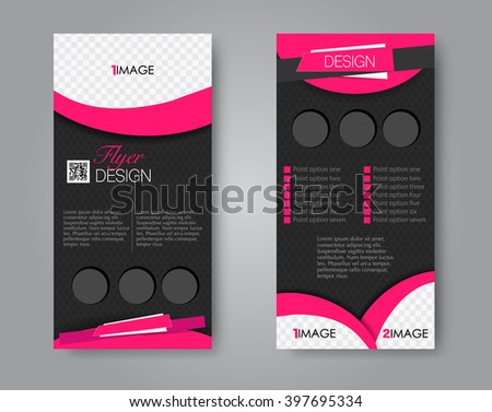 Vector flyer and leaflet design. Set of two side brochure templates. Pink and black color. - stock vector