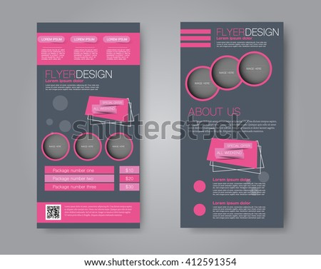 Vector flyer and leaflet design. Set of two side brochure templates. Pink and grey color. - stock vector
