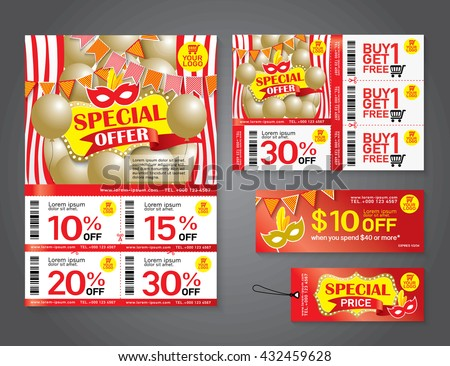 Vector flyer, Brochure, Promotions coupon or banner design with best discount offers, Template background size A4, A5, Vector EPS10. - stock vector