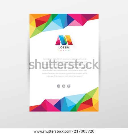 vector flyer design template, letterhead with colorful low poly art style details and company logo - stock vector