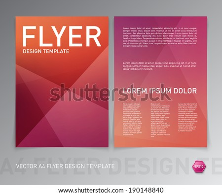 Vector flyer design template. Modern red geometric background. Can be used for stationery, business cards and brochures.  - stock vector