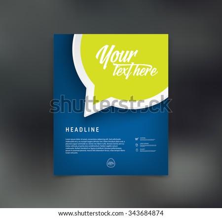 Vector flyer design template with speech bubble - stock vector