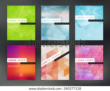 Vector flyer design templates collection. polygonal trendy and modern design. - stock vector