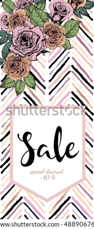 Vector flyer for great sale. Chevron text template. Rose gold flowers and chevron modern brush spot in trendy pastel colors. Use for business fashion promotion.