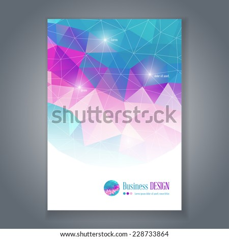 Vector flyer or brochure template with colorful geometric triangle background. Abstract modern trendy design. - stock vector