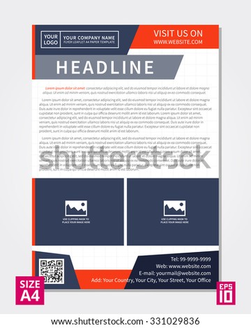 Vector Flyer Poster Leaflet Annual Report Stock Vector 331029836