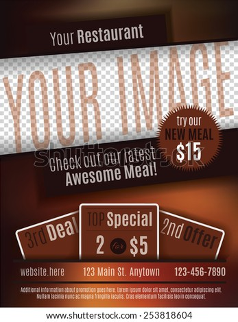 Vector flyer template design for Restaurant Coupon with space for your custom image - stock vector
