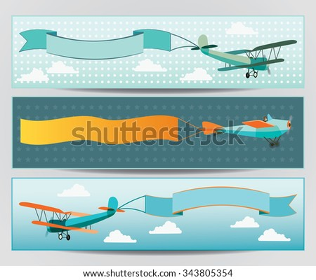 Vector flying airplanes with empty banners - stock vector