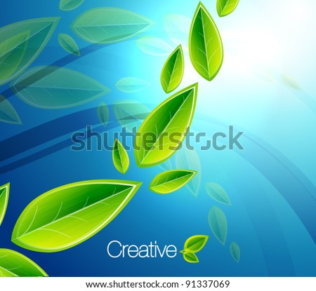 Vector flying leaves on blue. Abstract eps10 nature background - stock vector