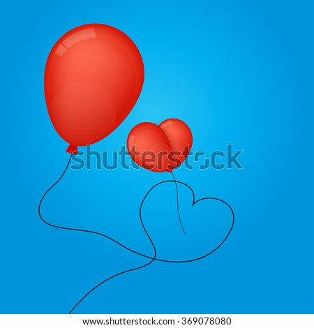 Vector flying red balloons in heart shape . Happy Valentines Day.