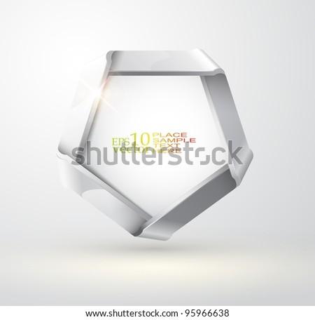 Vector folded metallic ribbon - stock vector