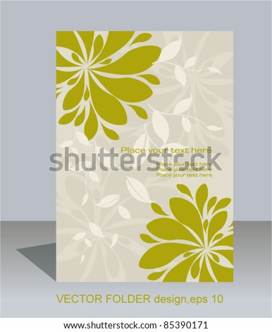 Vector folder design on floral background - stock vector