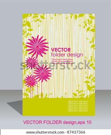 Vector folder design on floral background - stock vector