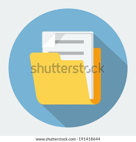 Vector folder flat icon - stock vector