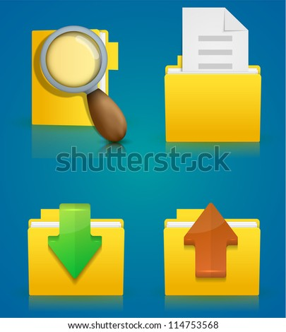 Vector folder icon set on blue background. Eps10 - stock vector