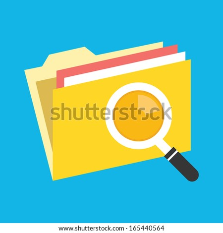 Vector Folder Search Icon - stock vector