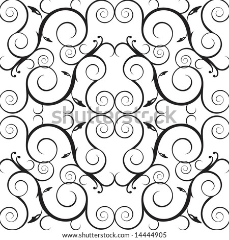Vector foliage /vine wallpaper pattern or background. - stock vector