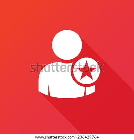 Vector Following Account Icon. Ideal Man. Flat icon design with long shadow - stock vector