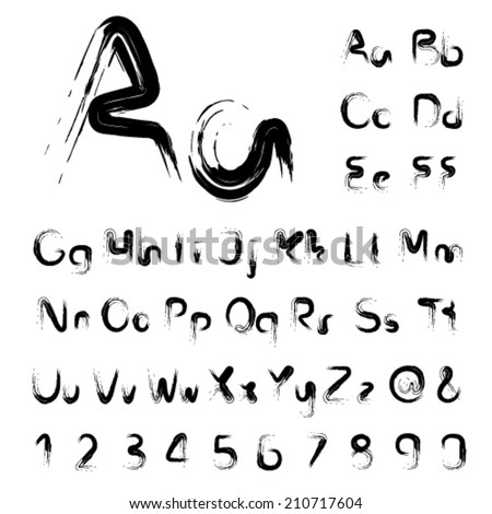 Vector font alphabet, own brush - simple letters and numbers - stock vector