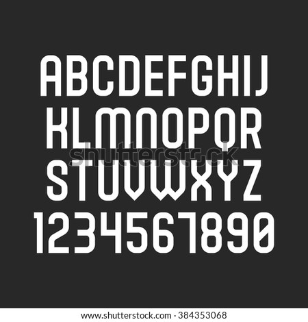 Vector font. Alphabet with latin letters and numbers (2) - stock vector